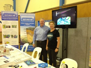 Department of Mines and Petroleum (DMP) Carbon Strategy Coordinator Dominique Van Gent and Dr Linda Stalker at The South West Hub exhibit at the Harvey Agricultural Show on Sunday, April 3rd